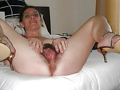 Raunchy mature momma getting undressed on pictures
