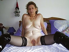 Seductive older businesswoman rudely hammered