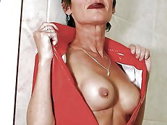 Extravagant older lass having shaved slit
